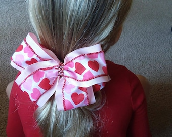 Valentine's Day Hair Bows - Large Red & Pink Hearts Hair Bows