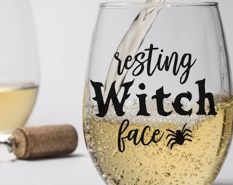 Funny Halloween Glass, Resting Witch Face Cup Glass Mug, Wicked Beer Wine Milk Soda Beverage, Housewarming Birthday Gift for Her