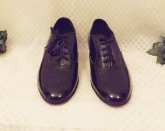 Vintage DeLuco Black Patent Leather Dance Shoes Size 9