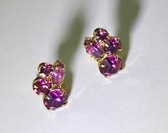 1960s Coro Purple Rhinestone Earrings