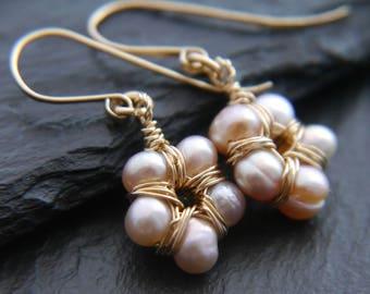 Pink Pearl Earrings, Freshwater Pearl Earrings, Gold Filled, Pearl Cluster Earrings, Ballet Pink, Flower Earrings, Wedding, Bridesmaid Gift