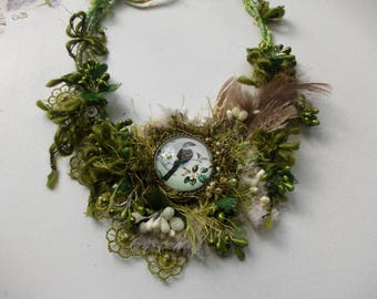 Green forest necklace... mori girl necklace, spring necklace, vintage boho bib necklace inspired by nature, forest bird fairy necklace.