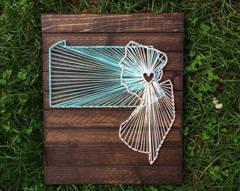 Nail string art etsy string art state string art wood sign wedding sign wall art prinsesfo Image collections