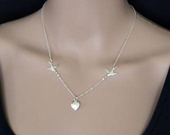 Dainty Silver Sparrow Necklace Tiny Pearls, Sterling Silver Chain, Tiny Locket Necklace, Vintage inspired Necklace