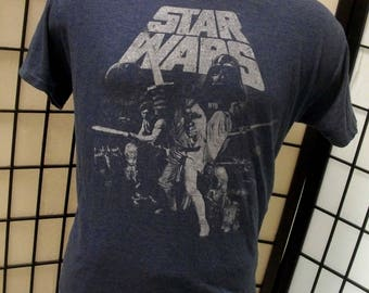 Star Wars vintage soft thin heather blue t shirt Large L 50/50 tee