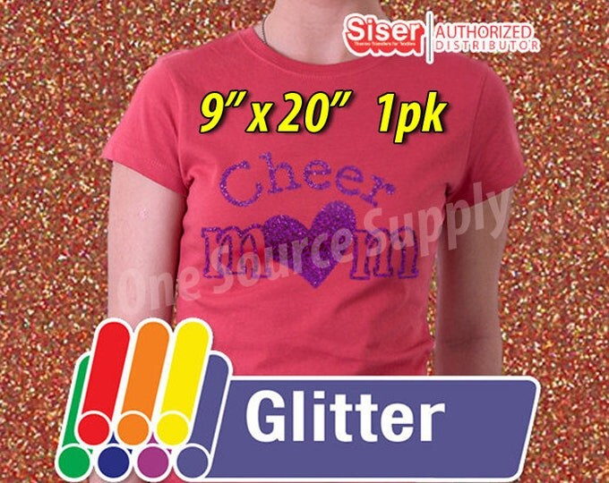 "9""x 20"" / 1-sheet / Easyweed Glitter HTV / Combine for Shipping Discount - Heat Transfer Vinyl"