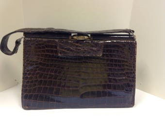 1930s/ 1940s brown snakeskin handbag