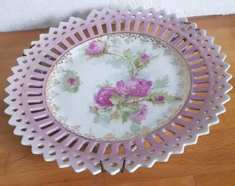 Vintage Pink Pierced Decorative Cabinet Display Plate with Floral Design