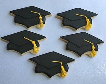 Graduation cookies, Graduation favors, Graduation cap cookies, 1 Dozen
