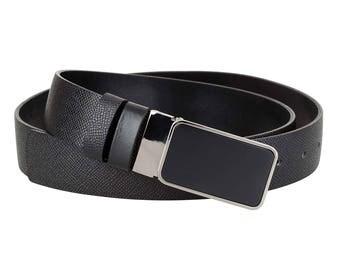 Men casual belt Black leather belt Mens leather belt Gunmetal belt buckle Business suit belt REVERSIBLE