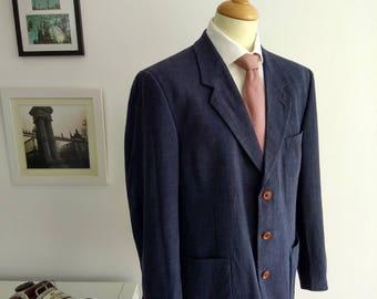 Vintage Men's Blazer in blue, brand Massimo Dutti. Made in Spain. Size 52