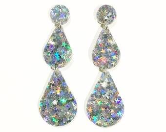 RAINDROP earrings. Silver star glitter acrylic.