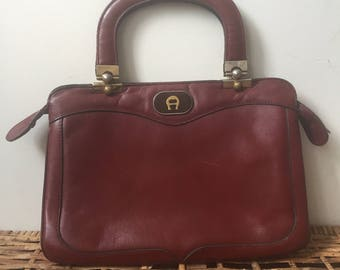 1970s Etienne Aigner Oxblood Leather Satchel