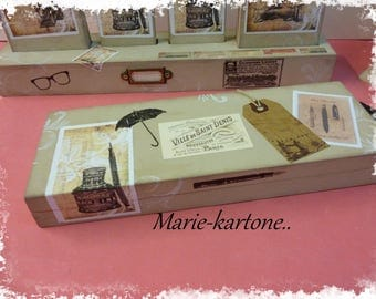"""Vintage """"Ink"""" desk pencil box. Pencil box painted images of old, stamps and tags..."""