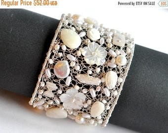 ON SALE Bridal statement cuff bracelet, pearl bridal bracelet, bridesmaid bracelet,  wedding jewelry