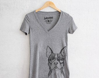 Scout the Boston Terrier - Tri-Blend Deep V Grey