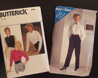 Pair of 1980's Ladies Patterns, See & Sew 5142 and Butterick 4709