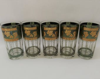 Cera glasses etsy vintage cera glass company 22k gold grapes green glasses 12 ounces tumblers mid gumiabroncs Image collections