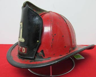 Rare antique American full leather red and black fireman helmet with eagle 1 E.F.D. circa 1890s