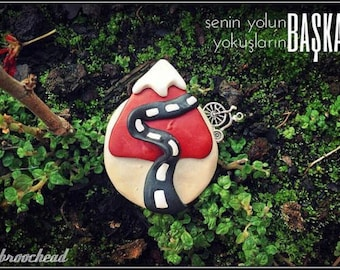 ride your own way, handmade brooch