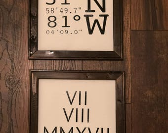 Coordinates/Date with Roman Numerals Framed Canvas Sign