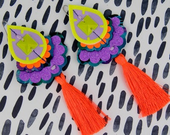 COLOURFUL EARRINGS in tropical shades with neon orange tassels. OVERSIZE earrings, cut from recycled fabric and hand stitched. Fluorescent.
