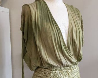 Boho Olive green top,woodland inspired , forest looking clothing,beautiful hand dyed top , feminine sexy top,gift for her, fairy top,rawrags