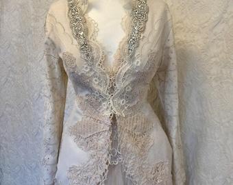 Edwardian wedding  jacket,Victorian lace jacket,bridal jacket, jacket, tea stained jacket,lagenlook jacket,gypsy eco jacket,boho jacket,