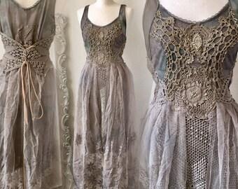 Forrest wedding dress nature colours,bridal dress for mermaids,Wedding dress gray  fairy, mermaid wedding dress,rawrags,elven wedding dress