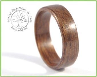 Natural handcrafted Queensland walnut wooden ring. Engagement ring, wooden weeding band. Unique jewellery.
