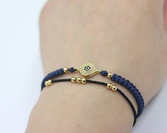Double wrap bracelet black cord multi strands bracelet bohemain layering bracelet handmade friendship jewelry fashion stacking bracelet