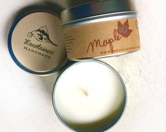 maple scented soy candle / natural  scented soy wax candle / vegan soy candles / handmade maple syrup maine made maple wedding favor