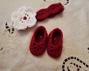 Crochet Baby Headband, Ballet Baby Booties, Baby Shower Gift, New Baby, Baby Gift Set, Baby Girl