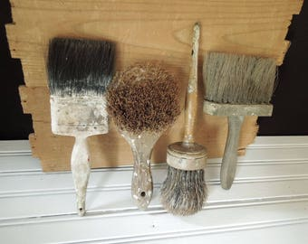 Decorative Paint & Work Brushes - FREE SHIP - Wood Handles - Worn Old Shabby Instant collection - Display Prop Theatrical Decoration