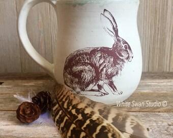 """Rabbit mug, wild hare coffee cup, woodland themed mug, bunny thumbrest mug. 4"""" tall stoneware wheel thrown mug Handmade USA"""