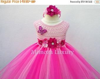SALE Peppa Pig Dress, Pink Flower girl dress, peppa pig tutu dress, peppa pig princess dress, hot pink tulle dress, pink birthday dress, lux