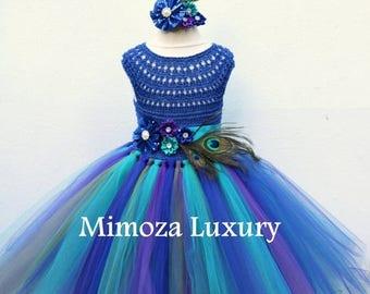 SALE Peacock Royal Blue dress, Peacock blue tutu dress, Royal blue flower girl dress, royal blue princess dress, crochet top tulle dress, pa