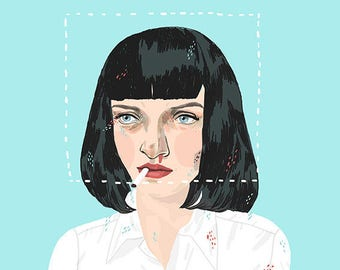 "Pulp fiction / Mia Wallace / Don't be a square / 16"" x 20"" giclée print AP"