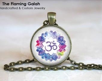 OM Symbol Pendant •  Watercolour OM •  Namaste •  Gift for a Yogi •  Yoga Jewellery •  BoHo OM • Gift Under 20 • Made in Australia (P1407)