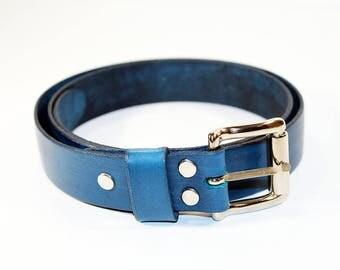 Blue Leather Belt ,Leather Belt , Handmade Belt,Great Gift. Blue belt.