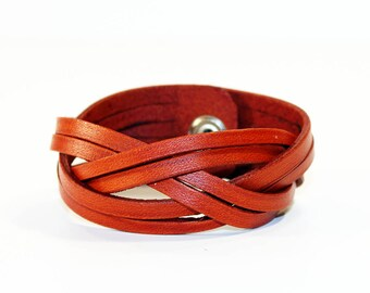 Orange Leather Cuff Bracelet! Nice gift for women! Orange wrist cuff! Bracelet wof women! Bracelet for men.