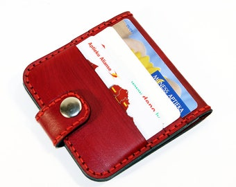 Leather wallet, red wallet, great leather item, red men's wallet, credit card wallet, gift for men.