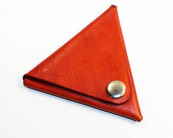 Leather coin wallet, triangle coin purse, orange coin wallet, small coin wallet, gift for men, gift for women.