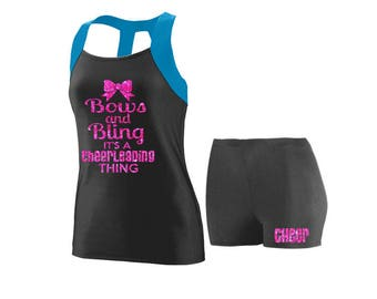 Cheer Practice Set Bows and Bling BLUE TANK