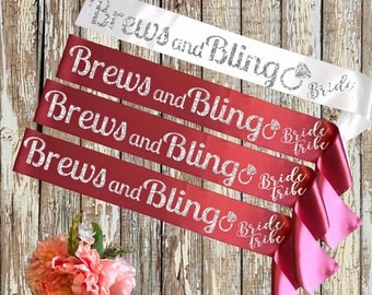 BRIDE SASH Brew and Bling Pink and White
