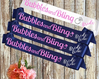 BRIDE SASH Bubles and Bling Royal and White