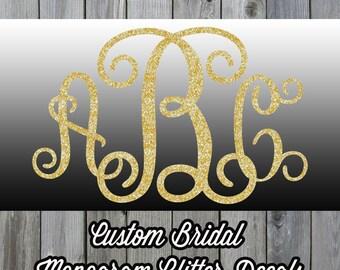 Custom Monogram Iron On Glitter Decal