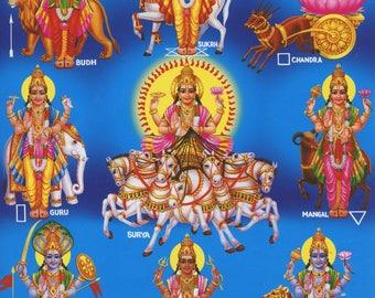 Vedic Nine Planets - Vintage-style Indian Hindu Devotional print