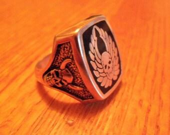 Winged Skull Biker Ring