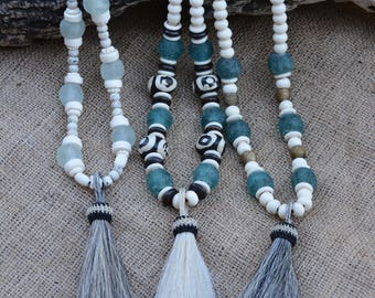 Neutral Statement Necklace | African Glass Trade Beads | BOHO Necklace | Horsehair Tassel Necklace | Buffalo Bone Beads